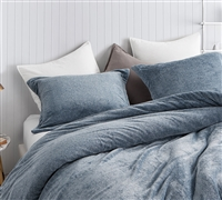 Stylish Navy Blue Oversized Queen Bedding with Matching Shams and Soft Plush Queen Duvet Cover