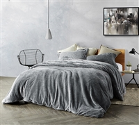 Oversized Twin XL, Queen, or King Duvet Cover in Stylish Slate Black with Matching Shams Included