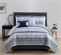 Blue Adelaide 5 Piece Quilt Set Full Bedding - Queen Bedding Sets