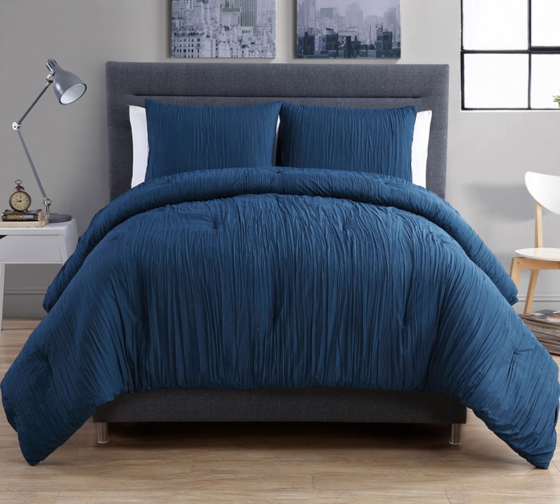 Crinkle 3pc King Duvet Set Navy