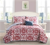 Queen Bedding Sets and Full Comforter Sets - Kennedy Red 5 Piece Quilt Set Full Bedding & Queen Bedding