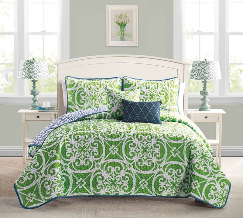 kennedy green 5 piece quilt set king quilt set