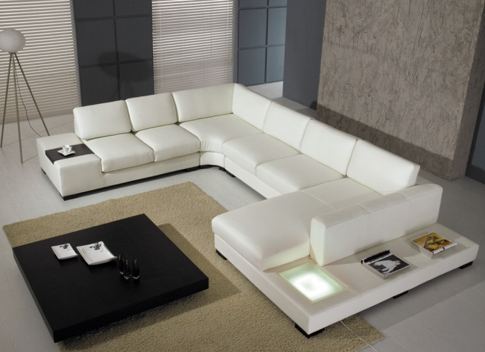 Divani Casa T35 White Leather Sectional Sofa With Lights By Vig