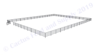 "Horse Round Pens & Arenas - 96'W x 120'D 1-5/8"" 4-Rail with 12' Ranch Gate Arena 