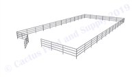 "Horse Round Pens & Arenas - 48'W x 96'D 1-7/8"" 4-Rail with 12' Ranch Gate Arena 