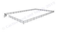 "Horse Round Pens & Arenas - 72'W x 120'D 1-7/8"" 4-Rail with 12' Ranch Gate Arena 