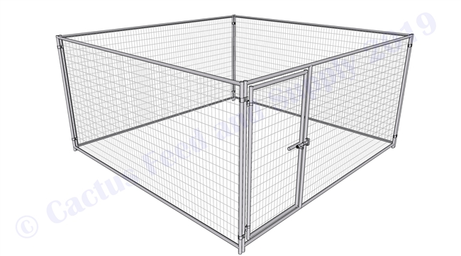 Cactus Dog Kennel:  12'W x 12'L x 6'H