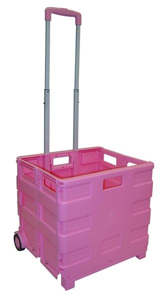 large pink folding cart rolling crate. Black Bedroom Furniture Sets. Home Design Ideas