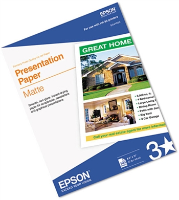 Epson S041062 Matte Presentation Paper, 8 1/2 x 11, 100 Sheets/Pack