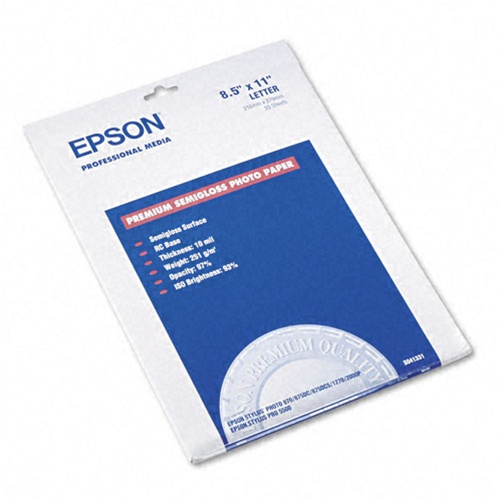 Epson S041331 Premium Photo Paper Semi Gloss 85x11 20 Sheets