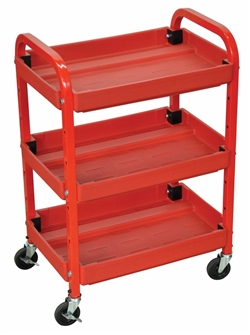Red Three Shelf Utility Cart