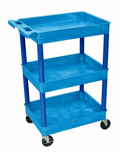 Blue Three Shelf Utility Cart