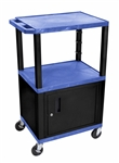 Utility Cart with Locking Cabinet & Drawer (Blue & Black)