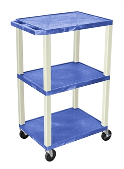 Blue Three Shelf Presentation Cart