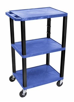 Blue Three Shelf Presentation Cart (Black Legs)