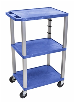 Blue Three Shelf Presentation Cart (Gray Legs)