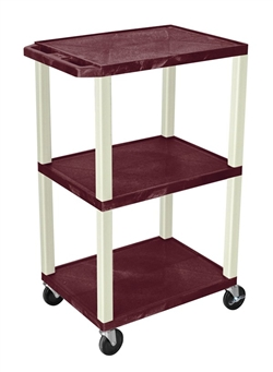 Burgandy Tuffy Cart with 3 Shelfs