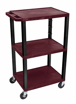 Burgandy Tuffy Cart with 3 Shelfs (Black Legs)