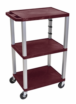 Burgandy Tuffy Cart with 3 Shelfs (Gray Legs)