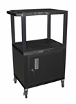 Black Multipurpose Two Shelf Cart with Cabinet (Black Legs)