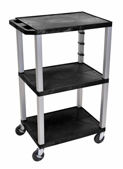 Three Black Shelf Multipurpose Cart (Nickel Legs)
