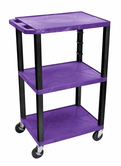 Purple and Black Laminator Three Shelf Utility Cart