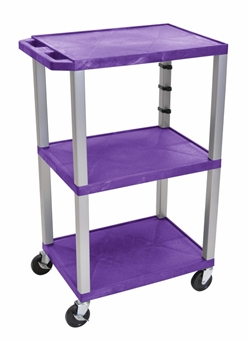 Purple and Silver Laminator Three Shelf Utility Cart
