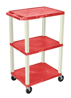 Red and Beige Three Shelf Laminator Cart