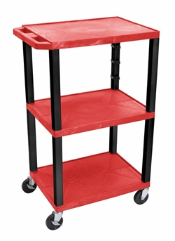 Red and Black Three Shelf Laminator Cart