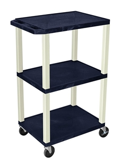 Navy Blue and Beige Three Shelf Laminator Cart