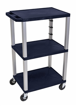 Navy Blue and Siver Three Shelf Laminator Cart
