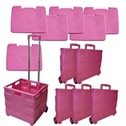 SPECIAL PRICE! Go-Cart Pink Folding Cart: 6 Large Carts with Lids