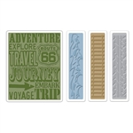 Sizzix Texture Fades Embossing Folders 4PK - Travel Signs Set by Tim Holtz SZ658579