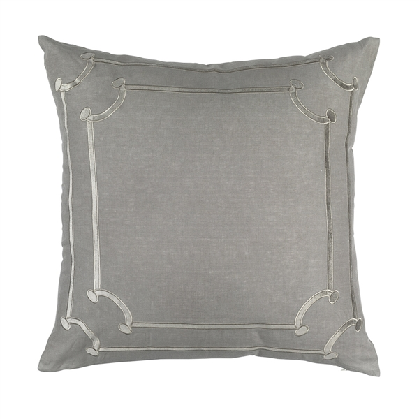 JANA EURO PILLOW LT GREY LINEN / LT GREY MATTE VELVET APPLIQUE 28X28 (INSERT INCLUDED)