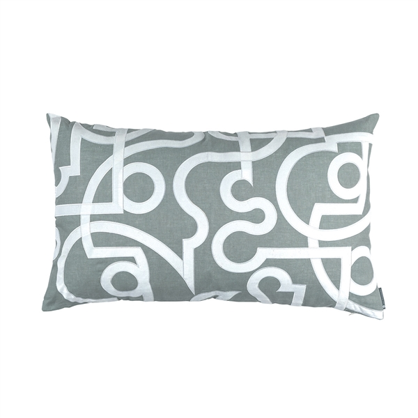 GEO LG. RECT. PILLOW SKY LINEN WHITE VELVET APPLIQUÉ 18X30 (INSERT INCLUDED)