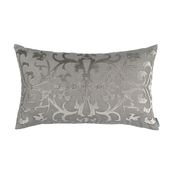 OLIVIA LG RECT PILLOW LT GREY LINEN / LT GREY MATTE VELVET APPLIQUE 18X30 (INSERT INCLUDED)