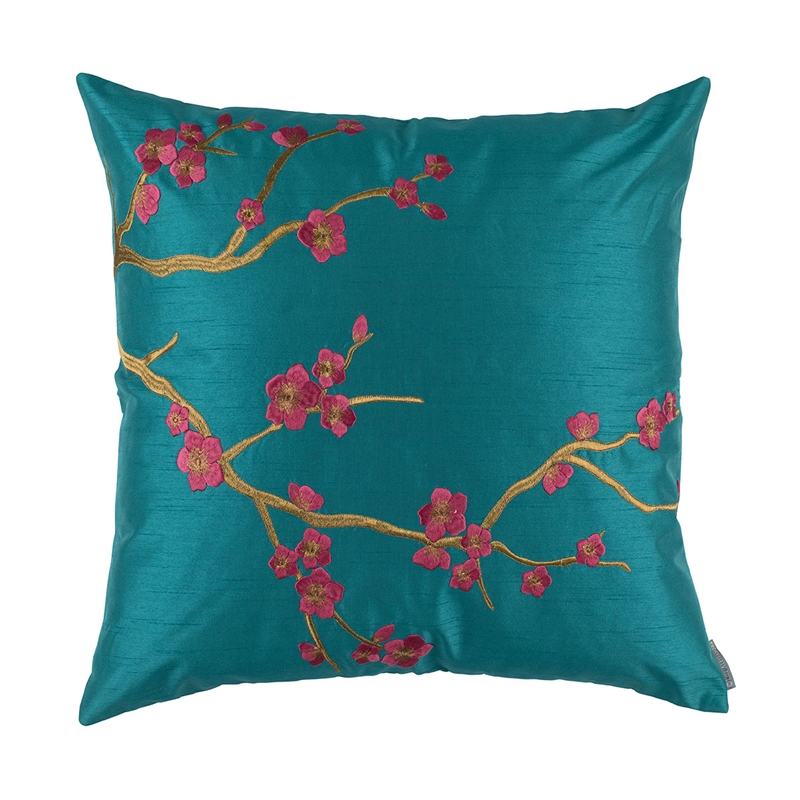 MING SQ PILLOW PEACOCK VENETIAN SILK / GOLD EMBROIDERY 24X24 (INSERT INCLUDED)