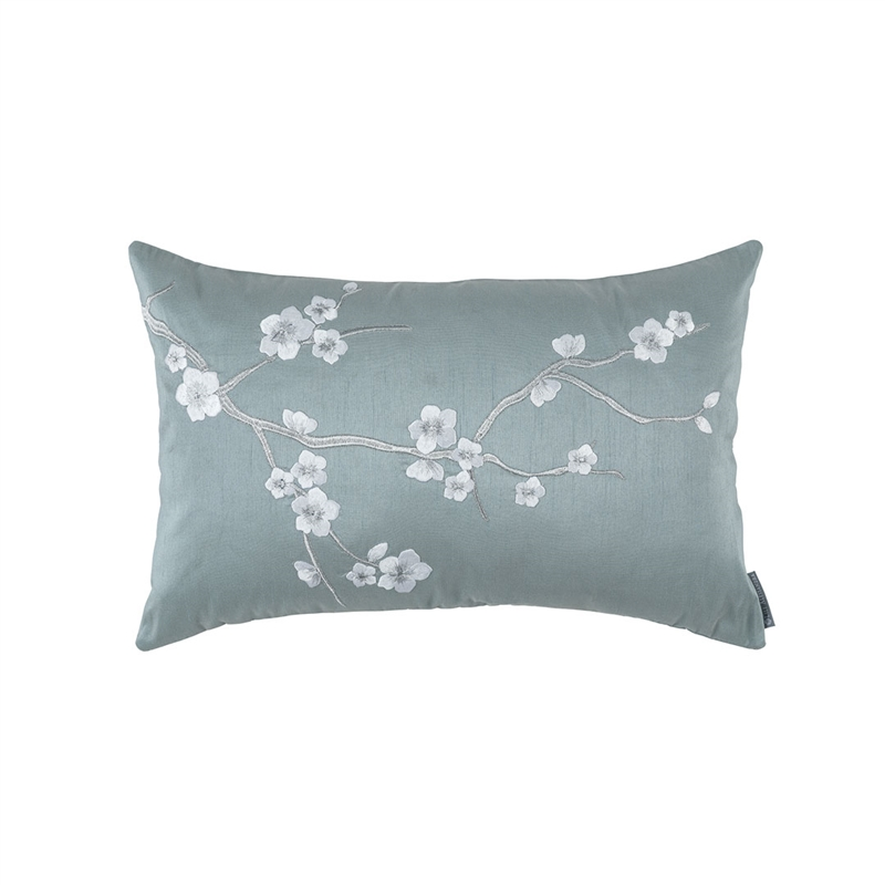 BLOSSOM SM RECT PILLOW BLUE POLY SILK / SILVER EMBROIDERY 14X22 (INSERT INCLUDED)