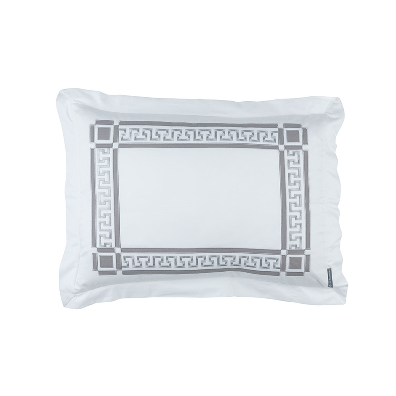 DIMITRI STANDARD PILLOW WHITE COTTON / PEWTER COTTON 20X26 (INSERT INCLUDED)