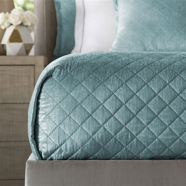 Chloe Sea Foam Velvet 96x98 Queen Coverlet