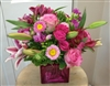 Hot Pink Garden Cube Bouquet