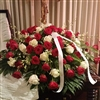 Red & White Rose, Orchid Casket Spray