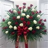 Red & White Rose End Basket
