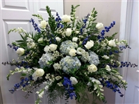 Blue & White End Basket