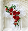 Red Rose Satin Cross Casket Pillow