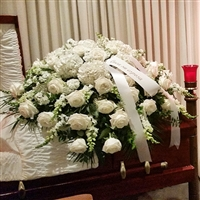 White Rose & Hydrangea Casket Spray