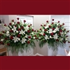 Red Rose & White Lily End Baskets (2 shown)
