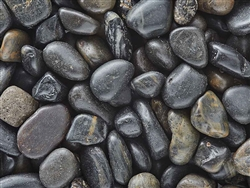 Beach Black Pebbles Polished 3/8""