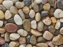 Polished Mixed Colors Pebbles 3/8""