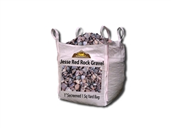 "Jesse Red Rock Gravel 1"" Screened per Yard - Landscape Rock Near Me"